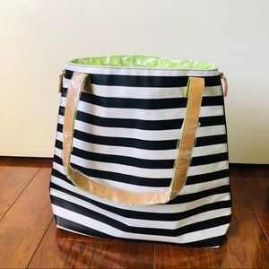 🔥 NWOT DSW convertible black white striped tote